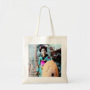 Geisha with a Wagasa Paper Parasol Vintage Japan Tote Bag