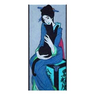 Geisha with Cat Full Color Rack Card