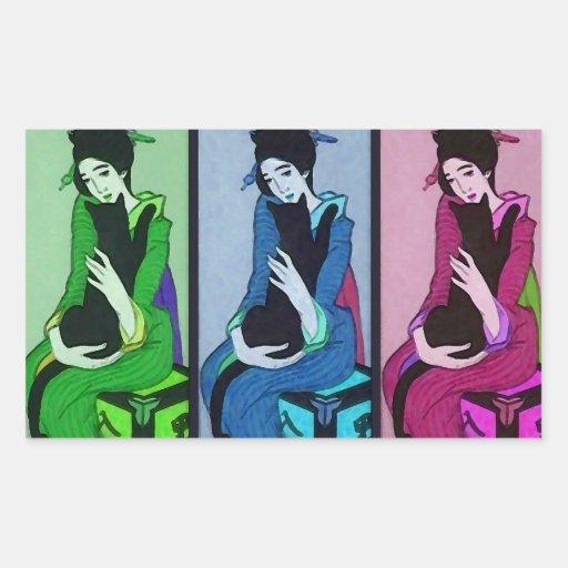 Geisha with Cat Rectangular Sticker