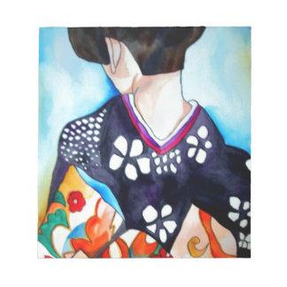 Geisha with dark blue kimono original art painting memo notepads