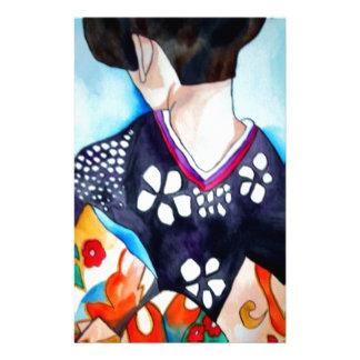Geisha with dark blue kimono original art stationery