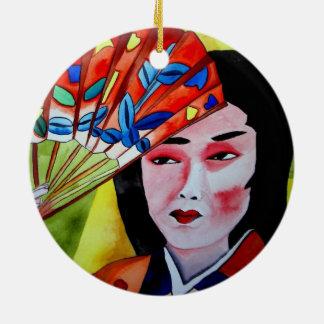 Geisha with Fan Ceramic Ornament