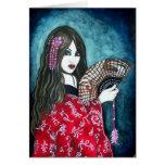 Geisha with Fan Greeting Card