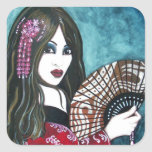 Geisha with Fan Square Sticker