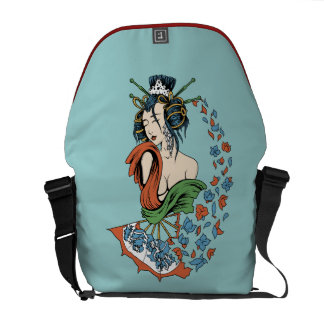 Geisha With Floral Cascade Commuter Bags