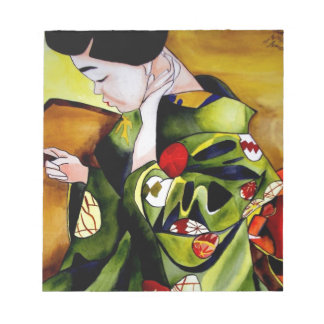 Geisha with olive green kimono note pads