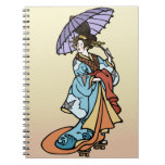 Geisha with Parasol Spiral Note Books