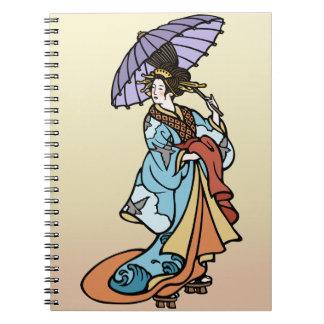 Geisha with Parasol Spiral Notebook