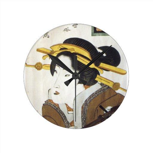 Geisha with Samisan, Eisen, 1826 Wallclock