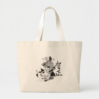 Geisha Woman and Japanese Lettering Large Tote Bag