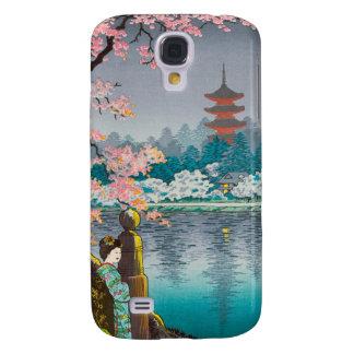 Geisha y cerezo, paisaje del japonés del parque de carcasa para galaxy s4