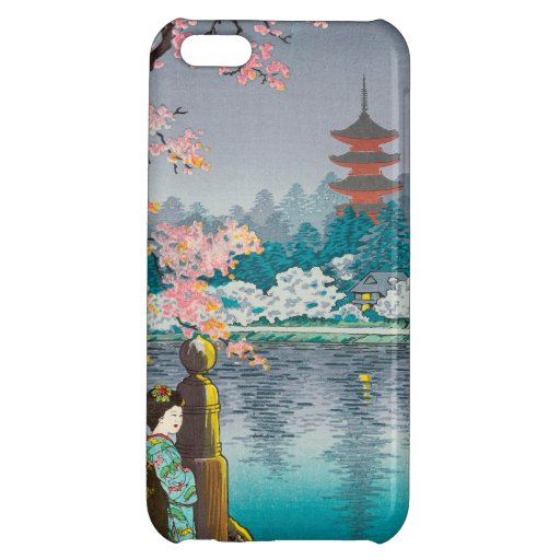 Geisha y cerezo, paisaje del japonés del parque de