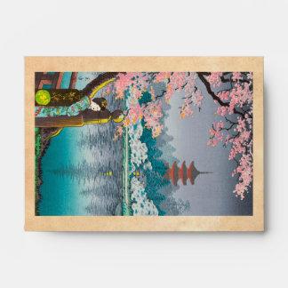 Geisha y cerezo paisaje del japonés del parque de