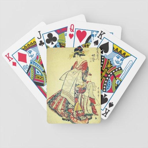 Geisha y el pequeño barajas de cartas