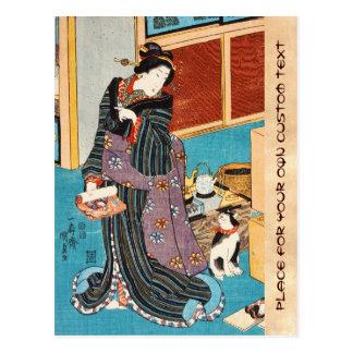 Geisha y nekko clásicos Utagawa del ukiyo-e del Postales