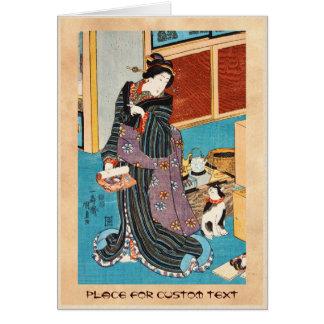 Geisha y nekko clásicos Utagawa del ukiyo-e del Tarjeta Pequeña