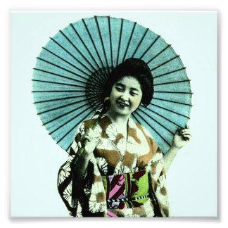 Geisha y su parasol Japón viejo del vintage Fotografía