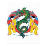Geishas con el dragón tarjeta postal