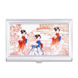 Geishas en jardín cajas de tarjetas de presentación