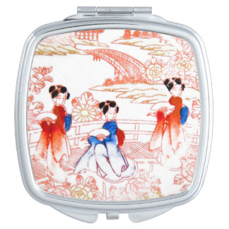 Geishas en jardín espejos de maquillaje