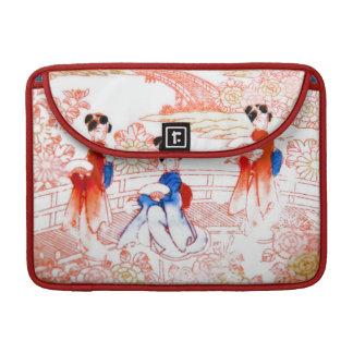 Geishas en jardín funda para macbooks