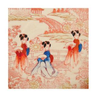 Geishas en jardín impresión en madera