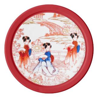 Geishas en jardín juego de fichas de póquer