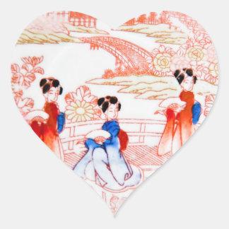Geishas en jardín pegatina en forma de corazón