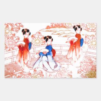 Geishas en jardín pegatina rectangular