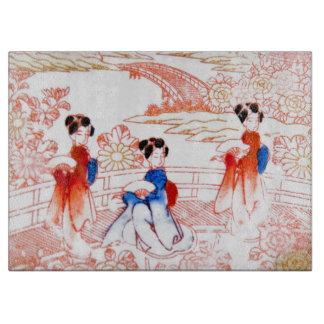 Geishas en jardín tabla para cortar
