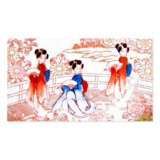 Geishas en jardín tarjetas de visita