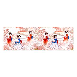 Geishas en jardín tarjetas de visita mini
