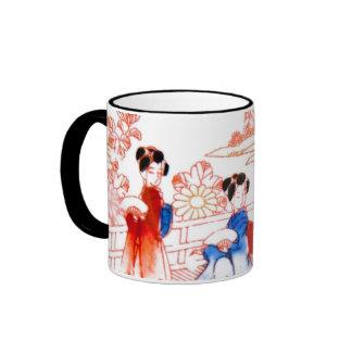 Geishas en jardín taza a dos colores