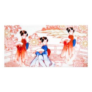 Geishas in garden card