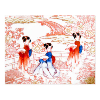 Geishas in garden postcard