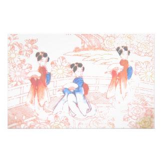 Geishas in garden stationery