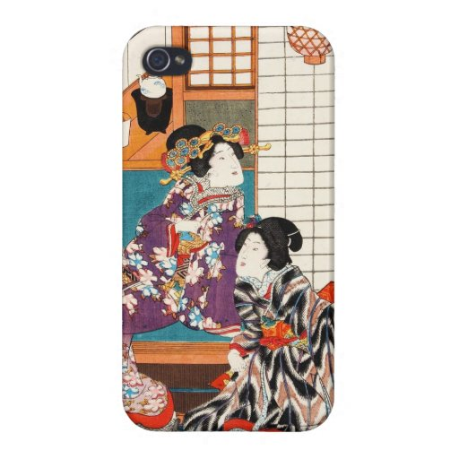 Geishas japoneses Utagawa del ukiyo-e del vintage  iPhone 4/4S Carcasa