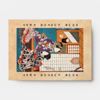 Geishas japoneses Utagawa del ukiyo-e del vintage Sobres