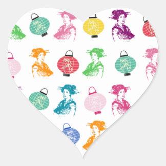 Geishas & Lanterns Heart Sticker