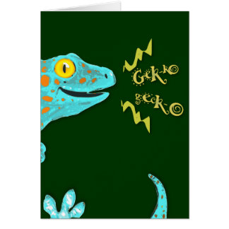 """Gekko gecko"" Cute Calling Tokay Gecko Card"