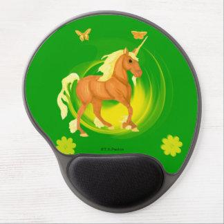 Gel de oro Mousepad del unicornio de la luz del so Alfombrillas De Ratón Con Gel