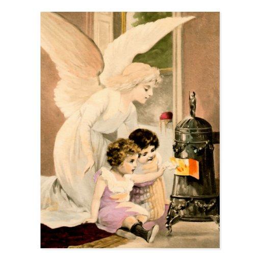 Gel, de protección, niños y fuegos, tarjeta postal