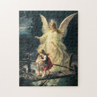 Gel, de protección y dos niños en puente puzzle