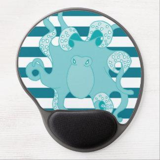 Gel intrépido azul Mousepad de las rayas del pulpo Alfombrillas De Ratón Con Gel