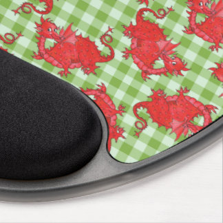Gel Mousepad: Cute Red Dragons on Green Gingham Gel Mouse Pad