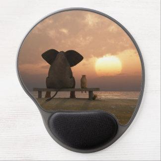 Gel Mousepad de los amigos del elefante y del perr Alfombrilla Con Gel