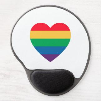 Gel Mousepad del orgullo del corazón del arco iris Alfombrillas De Raton Con Gel