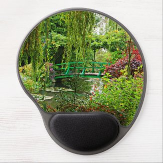 Gel mousepad, Monet's garden bridge Gel Mouse Pad
