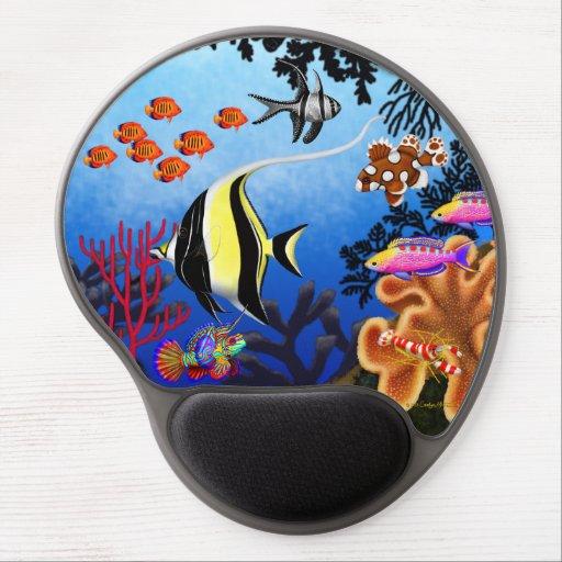 Gel pacífico Mousepad de los pescados del arrecife Alfombrilla Con Gel