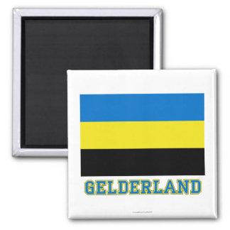Gelderland Flag with name 2 Inch Square Magnet